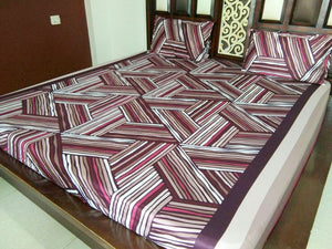 Log Wood Pattern Fitted BedSheet
