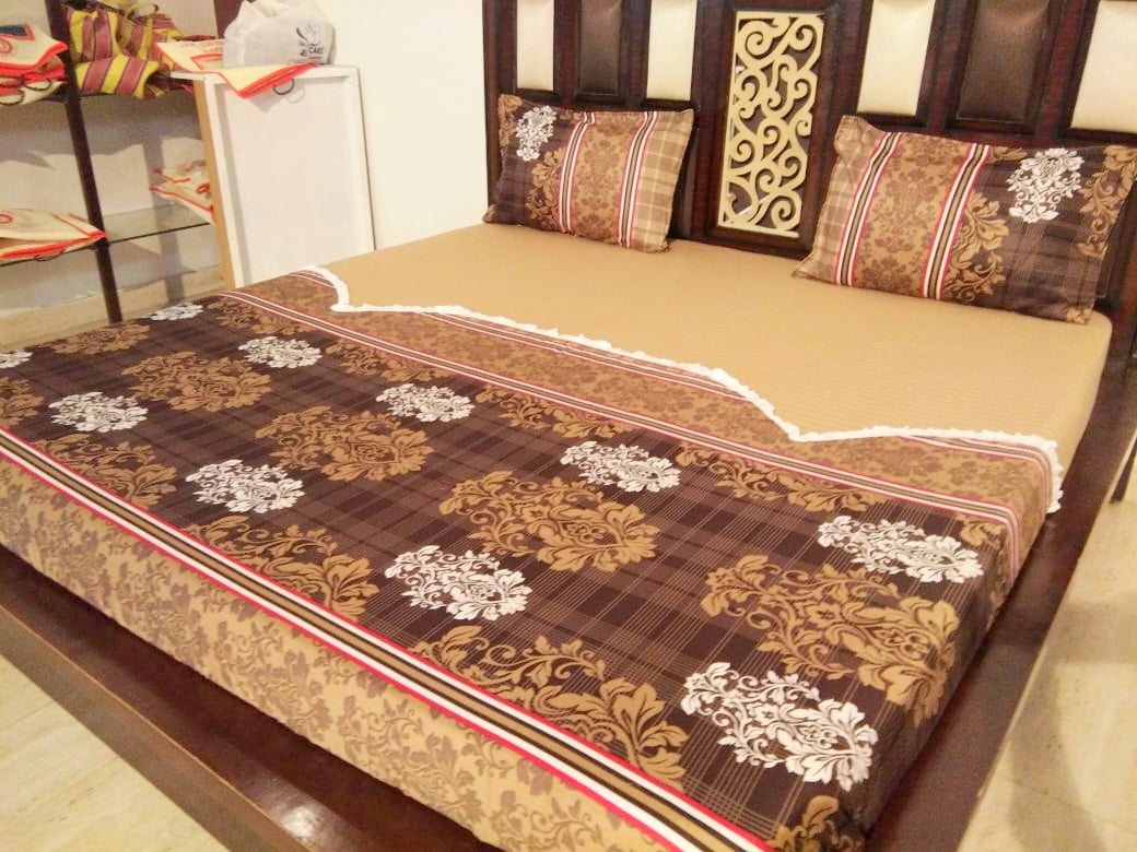 Classic Rangoli Design on Brown Fitted BedSheet