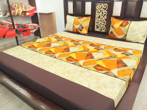 Geometric Pattern on Yellow & Orange Fitted BedSheet