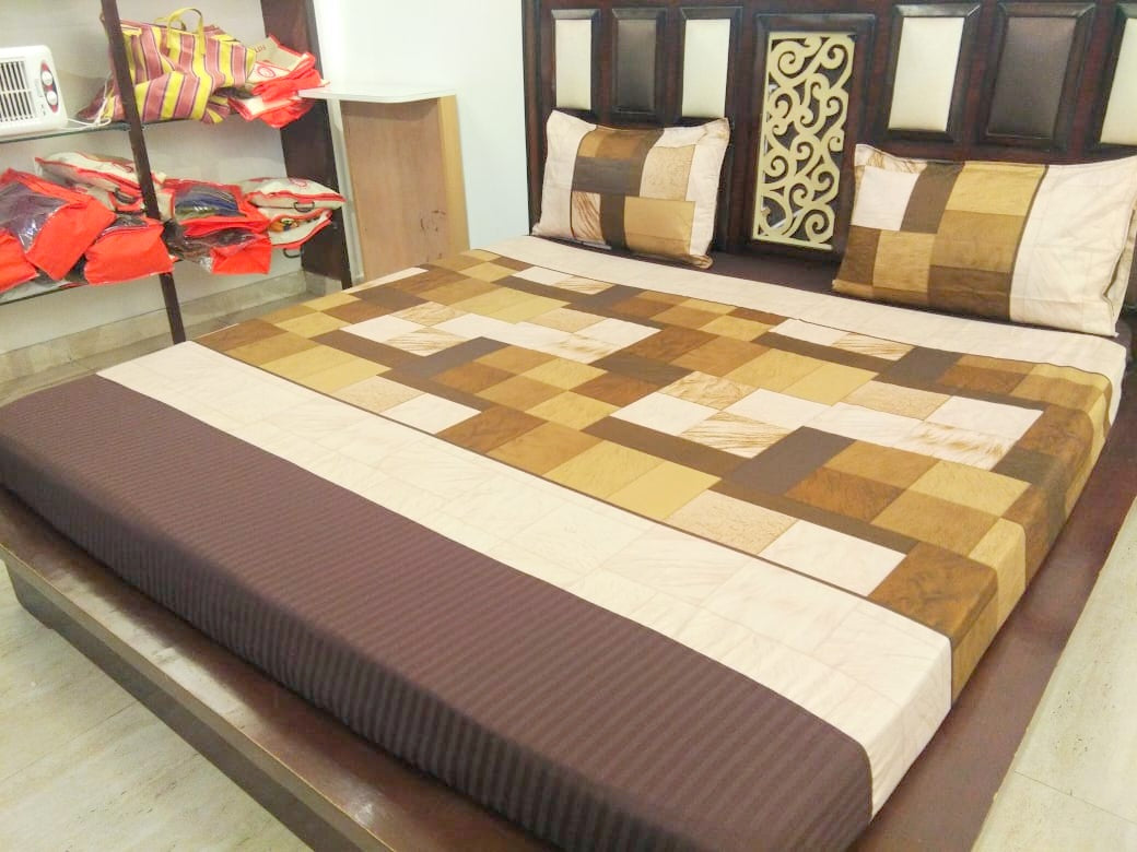 Block Pattern - Shades of Brown Fitted BedSheet