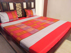 Block Pattern - Shades of Red Fitted BedSheet