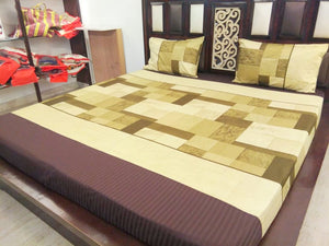 Block Pattern - Shades of Green Fitted BedSheet