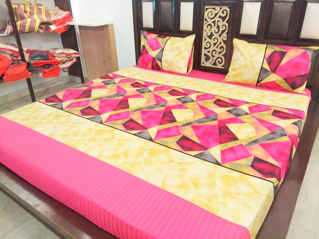 Geometric Pattern on Pink & Yellow Fitted BedSheet