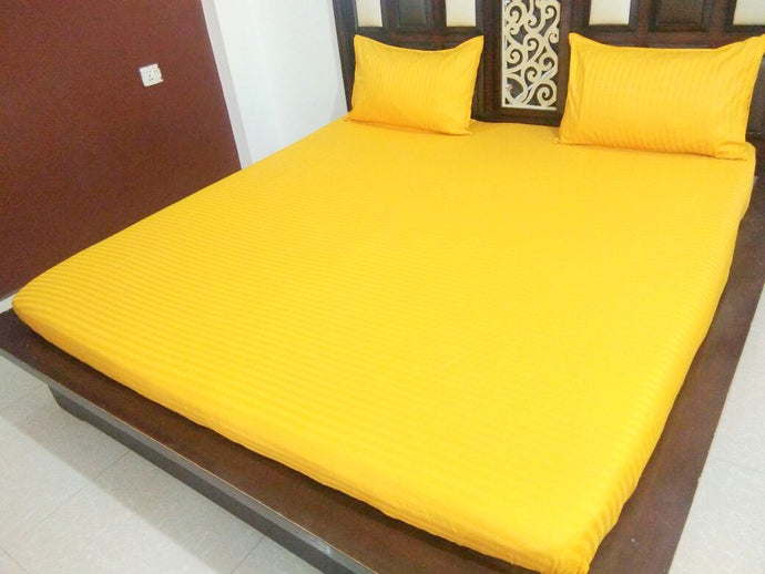 Plain Yellow Fitted BedSheet