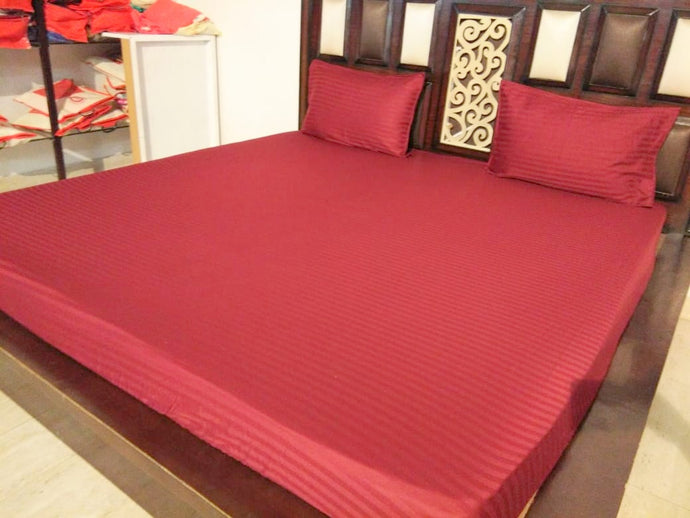 Plain Maroon Fitted BedSheet