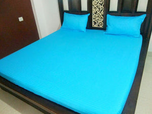 Plain Sky Blue Fitted BedSheet