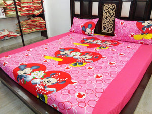 Kids Hearty Micky & Minni Fitted BedSheet