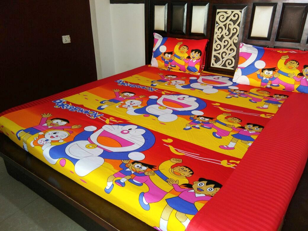 Kids Doremon and Friends Fitted BedSheet