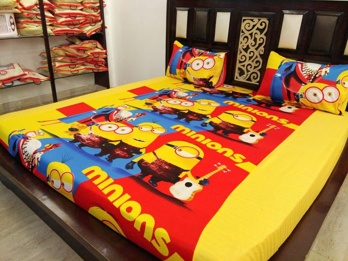 Kids Minions Fitted BedSheet
