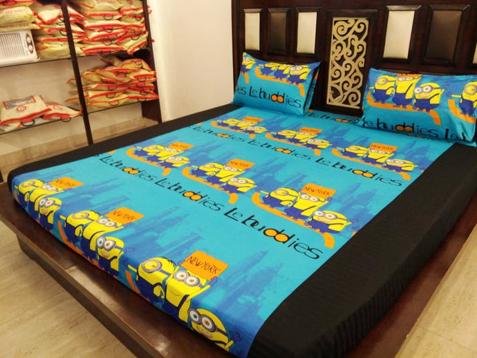Kids Minions in New York City Fitted BedSheet