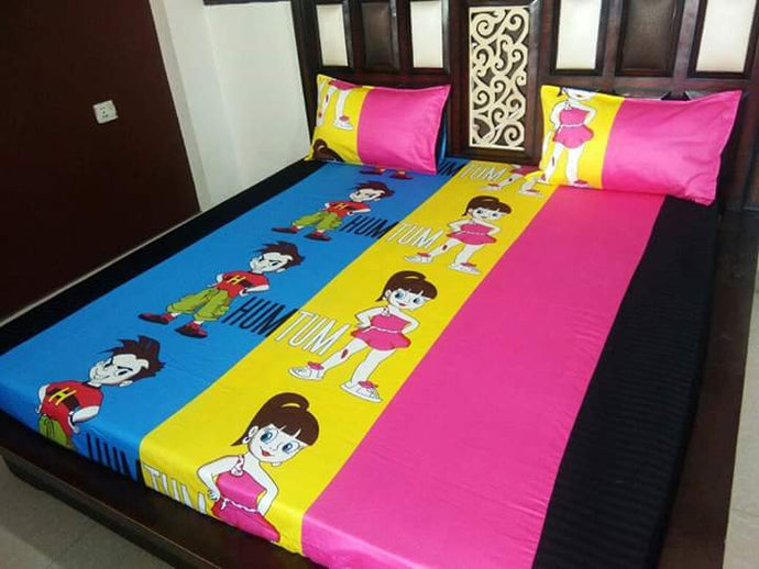 Kids Hum Tum Fitted BedSheet