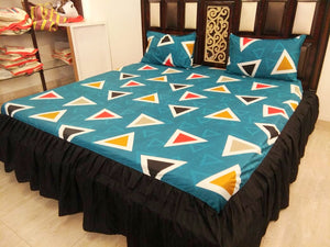 Triangle Pattern on Green Fitted BedSheet With Frills