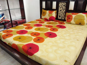 Orange Mushrooms on Light Green Fitted BedSheets