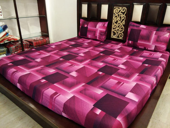 Sqaure Pattern - Shades of Purple Fitted BedSheets