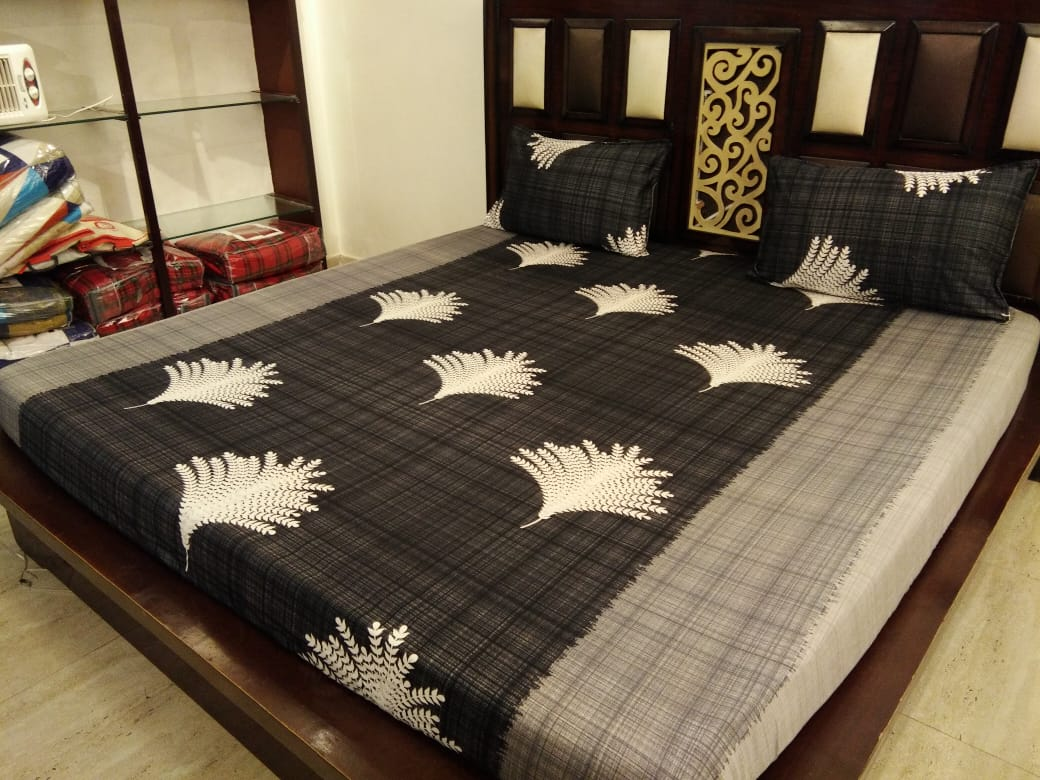Big Fern Pattern - Shades of Grey Fitted BedSheets