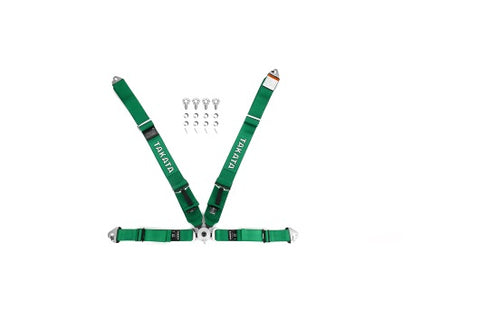 Takata Race 4 4-Point Harness Green Snap-On - Universal