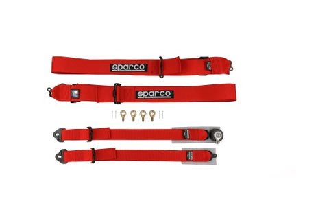 Sparco 2in/3in 4-point Harness Red Snap-On - Universal