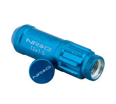 NRG STEEL LUG NUT WITH DUST CAP COVER SET: M12x1.5 (20PC.+ 1-KEY, BLUE)