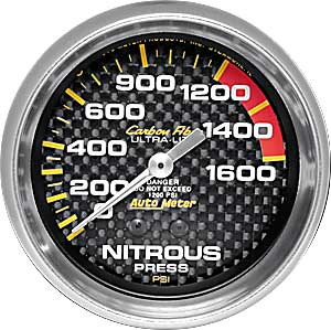 AUTO METER CARBON FIBER 2-5/8 GAUGE:NITROUS PRESS 0-1600Psi