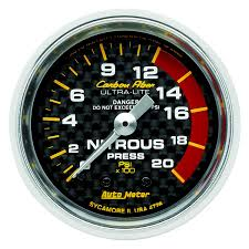 AUTO METER CARBON FIBER 2 GAUGE: NITROUS PRESS 0-1600 PSI