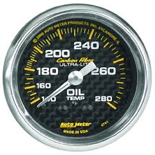 AUTO METER CARBON FIBER 2-5/8 GAUGE: OIL TEMP 140-300 F