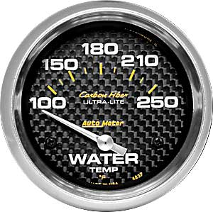 AUTO METER CARBON FIBER 2-5/8 GAUGE: WATER TEMP 100-250 F
