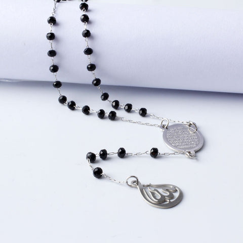 Long Rosary Ayat Al Kursi X Allah Necklace Silver/Black