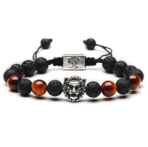 Gold/Silver Lava Rock Lion Bracelet