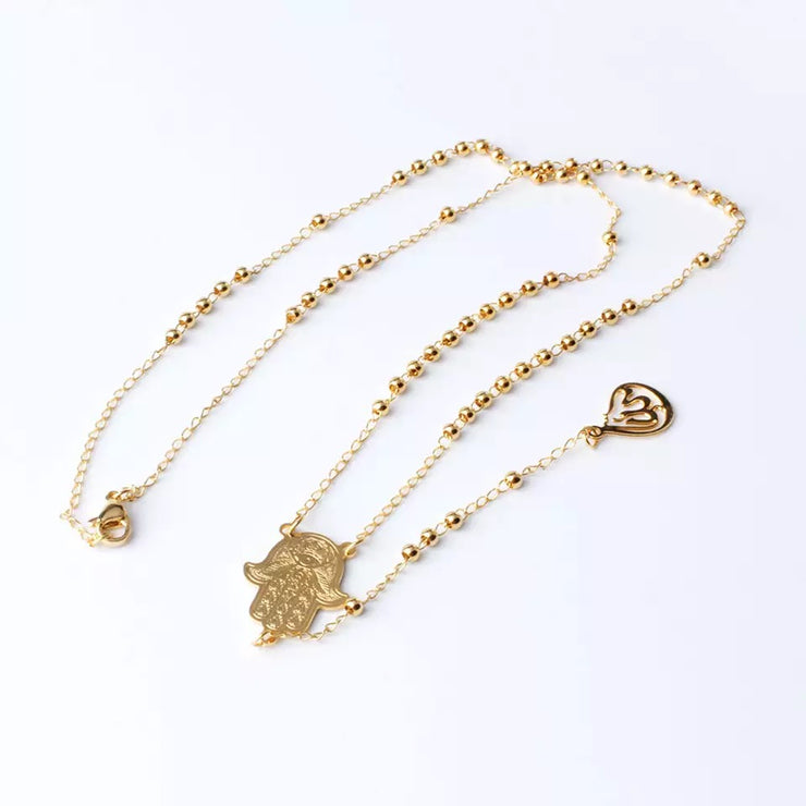 Long Rosary Hamsa Beads and Allah Pendant