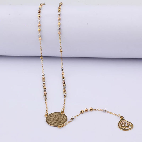 Long Rosary Ayat Al Kursi Necklace Allah Pendant Gold
