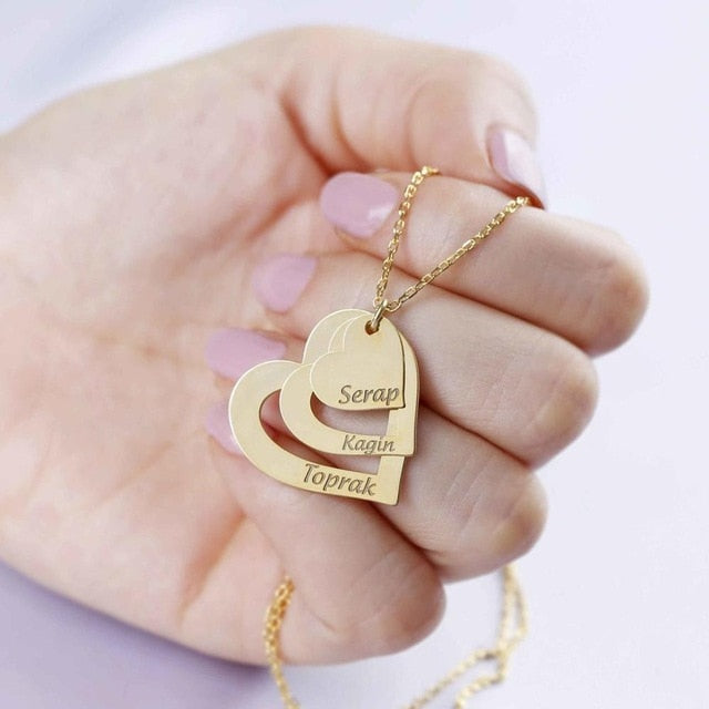 Gold Heart Family Names Necklace (Three Names)