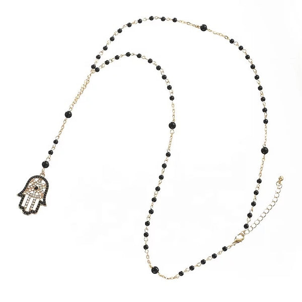 Long Rosary Hamsa Necklace
