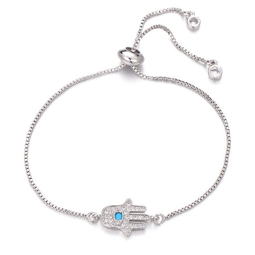 Silver Adjustable Hamsa Bracelet