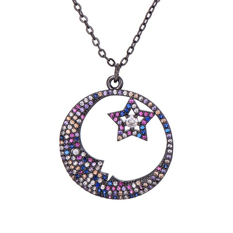 Black Moon and Star Necklace