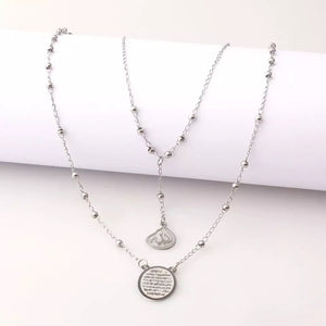 Silver Layered Allah X Ayat Al Kursi Necklace