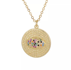 Gold Colorful Eye Necklace
