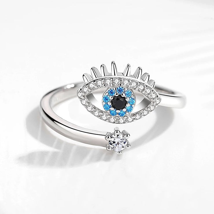 Sterling Silver Adjustable Large Eye Ring