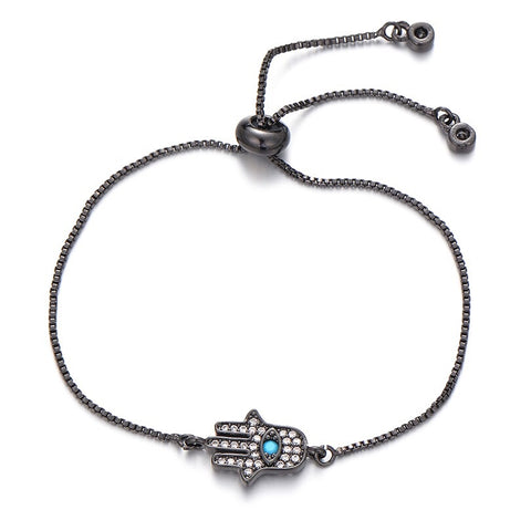 Black Adjustable Hamsa Bracelet