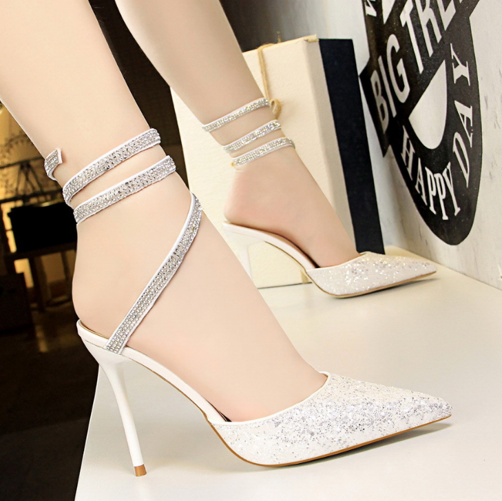 4da30e416 Sexy nightclub women's shoes with high-heeled shallow mouth pointed shiny  sequined sandals