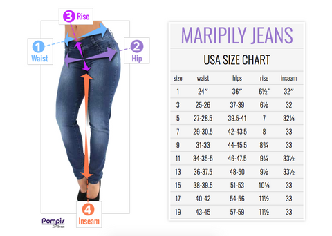 Maripily Jeans Size Chart