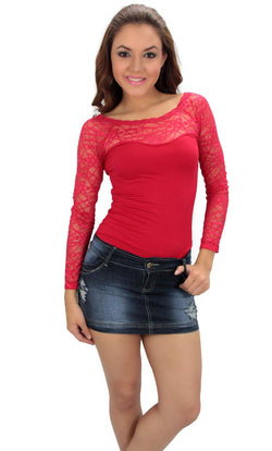 146 Long Sleeved Floral Lace Free Size Top