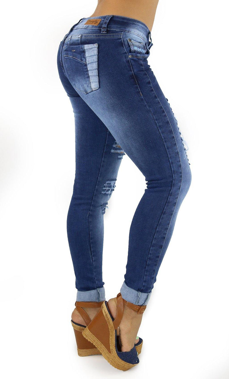 1288 Maripily Women's Low Rise Destroyed Skinny Jean