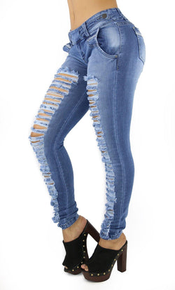 1291 Maripily Women's Destroyed Low Rise Skinny Jean