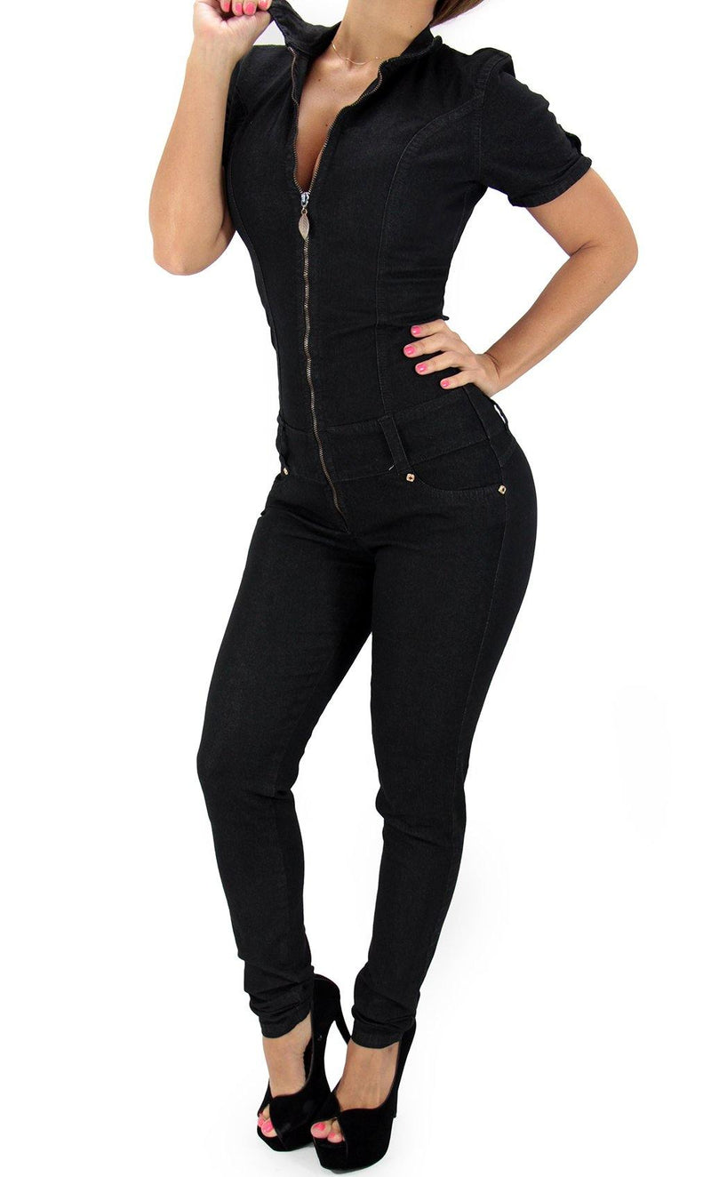 17423 Maripily Black Denim Jumpsuit