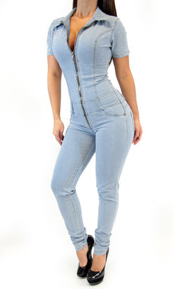 17483 Maripily Denim Skinny Jumpsuit