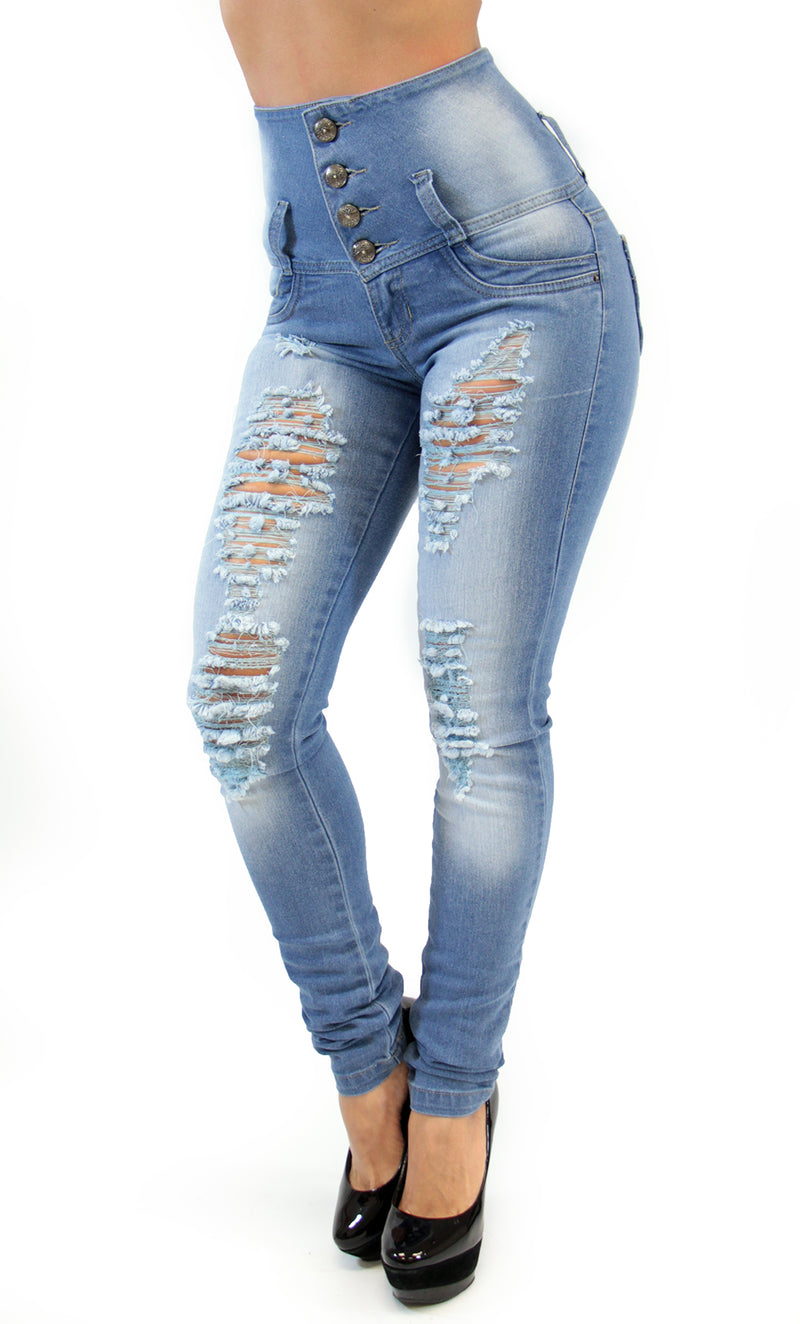 17487 Distressed High Waisted Maripily Skinny Jean