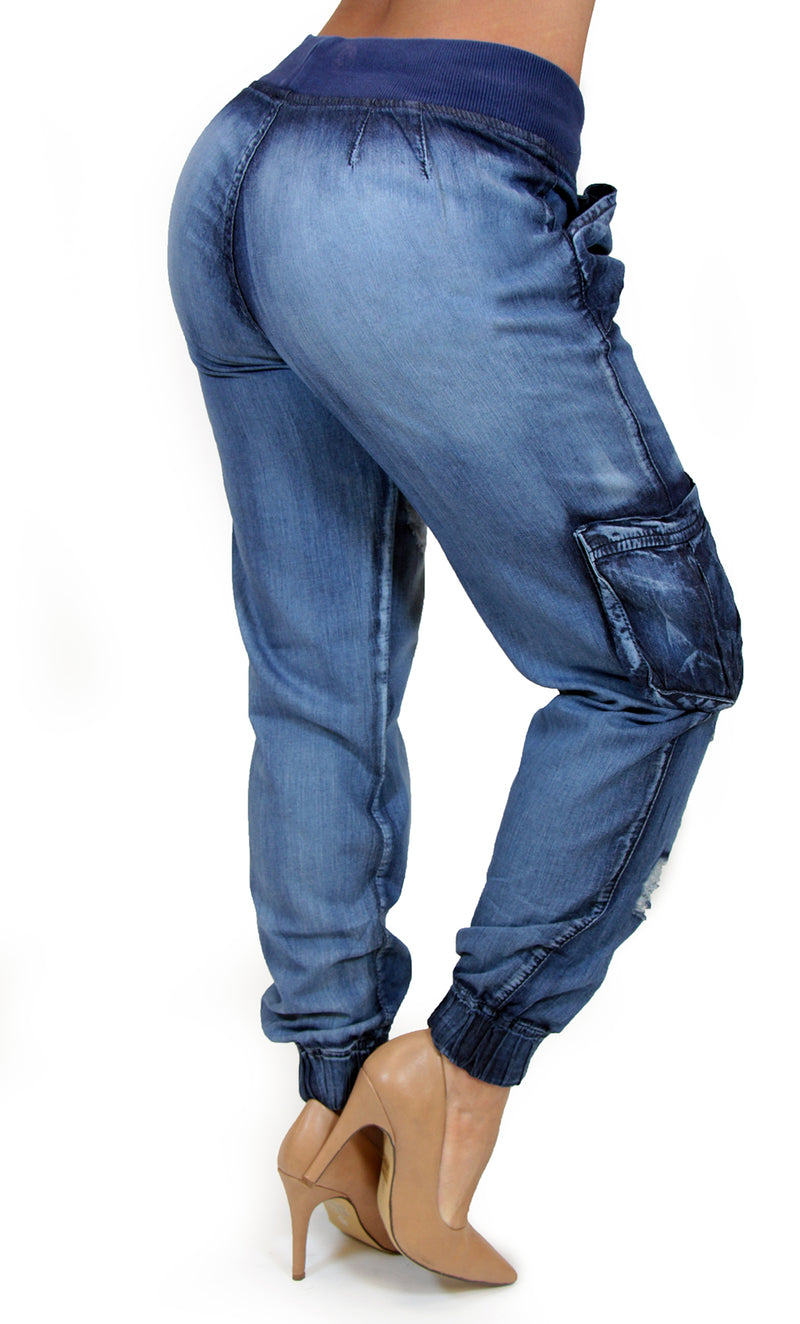 17553 Destroyed Jogger Pant Maripily Skinny Jean