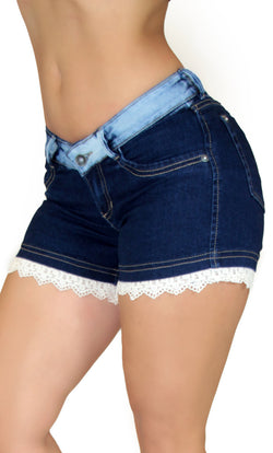 17672 Crochet Denim Maripily Short