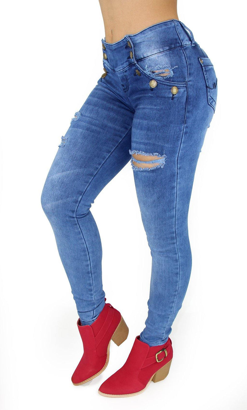 18004 Maripily Women Overall Butt Lifting Skinny Jean