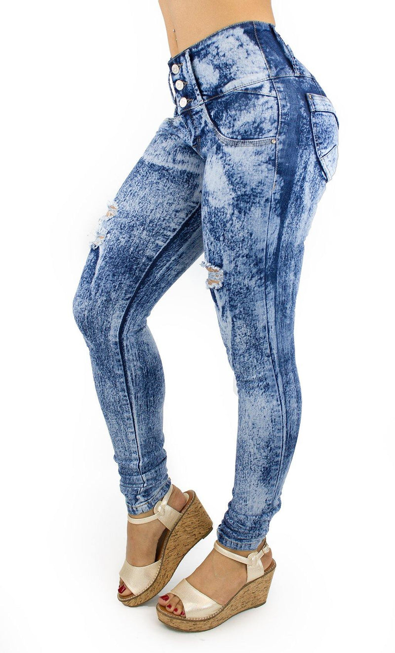 18018 Maripily Acid Wash Women Butt Lifting Skinny Jean